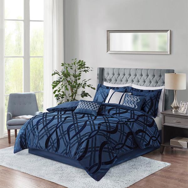 Madison Park Dolores 100% Polyester Velvet 7 Piece Comforter Set - Cal King - Navy MP10-7078 By Olliix