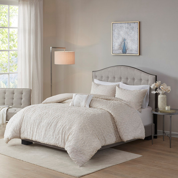 Madison Park Florence 100% Cotton Clipped Jacquard Comforter Set - King/ Cal King - Light Taupe MP10-7135 By Olliix