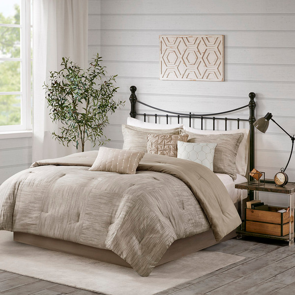 Madison Park Walter 100% Polyester Seersucker Printed Pieced 7Pcs Comforter Set - King - Taupe MP10-7086 By Olliix