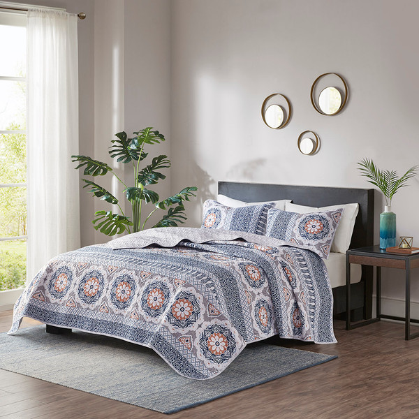 Madison Park Addie 100% Cotton Coverlet Set - Full/Queen - Blue MP13-7062 By Olliix