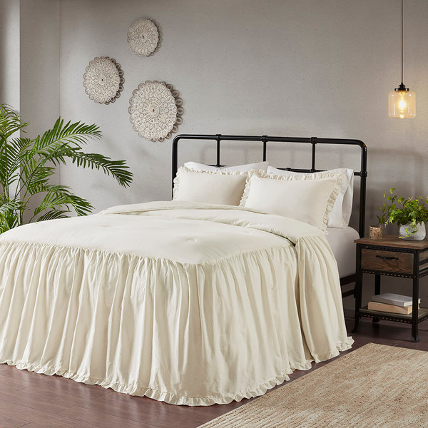 Madison Park Juliet 100% Cotton Bedspread Set - King - Ivory MP13-6483 By Olliix