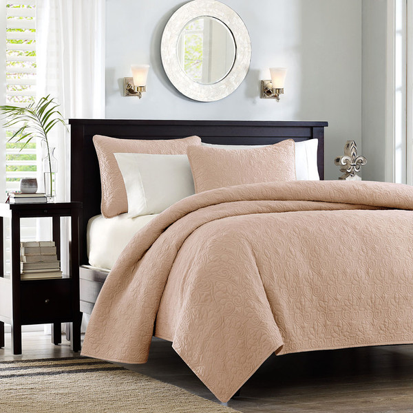 Madison Park Quebec 100% Polyester Solid Reversible Coverlet Set - Twin/TXL - Blush MP13-6437 By Olliix