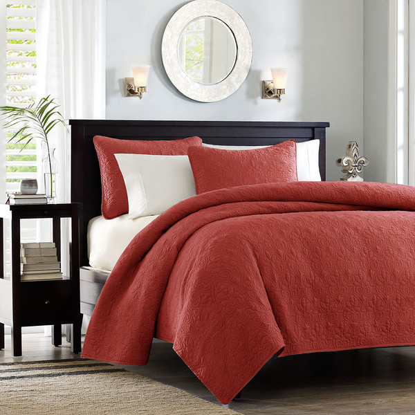 Madison Park Quebec 100% Polyester Solid Reversible Coverlet Set - Twin/TXL - Red MP13-6438 By Olliix