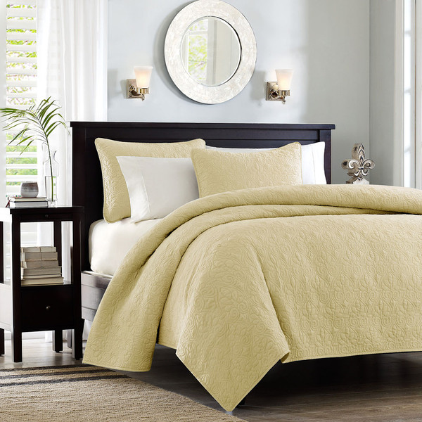 Madison Park Quebec 100% Polyester Solid Reversible Coverlet Set - Twin/TXL - Yellow MP13-6439 By Olliix