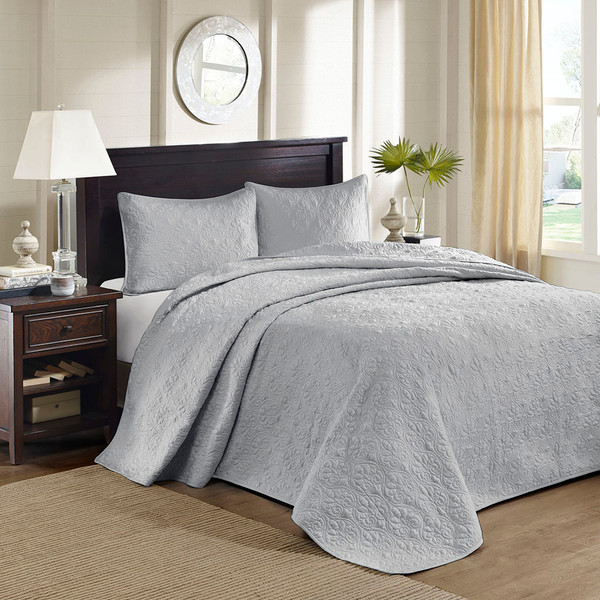 Madison Park Quebec 100% Polyester Solid Reversible Bedspread Set - Full - Grey MP13-6447 By Olliix