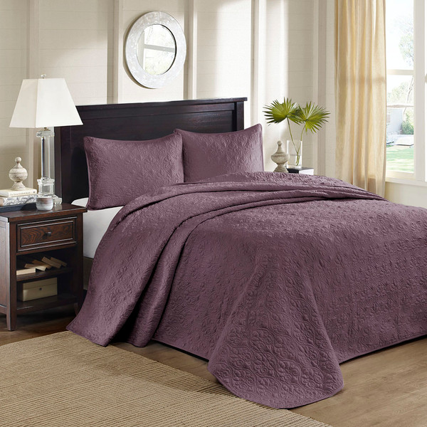 Madison Park Quebec 100% Polyester Solid Reversible Bedspread Set - Twin - Purple MP13-6456 By Olliix