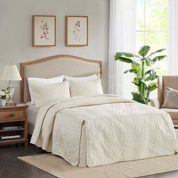 Madison Park Quebec 100% Polyester Fitted Bedspread - King - Cream MP13-6477 By Olliix