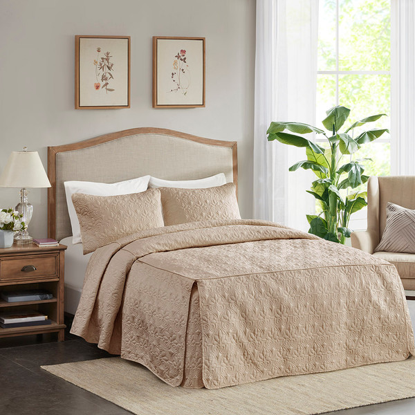 Madison Park Quebec 100% Polyester Fitted Bedspread - King - Khaki MP13-6479 By Olliix