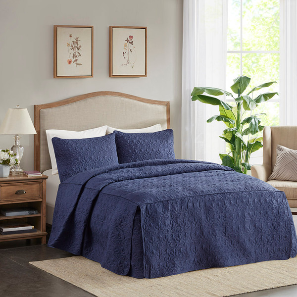 Madison Park Quebec 100% Polyester Fitted Bedspread - King - Navy MP13-6481 By Olliix