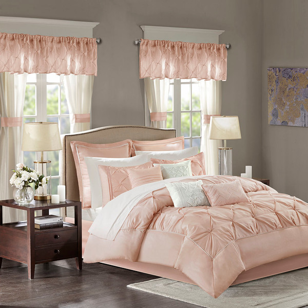 Madison Park Essentials Joella 100% Polyester Tufted 24Pcs Comforter Set - Queen - Blush MPE10-809 By Olliix