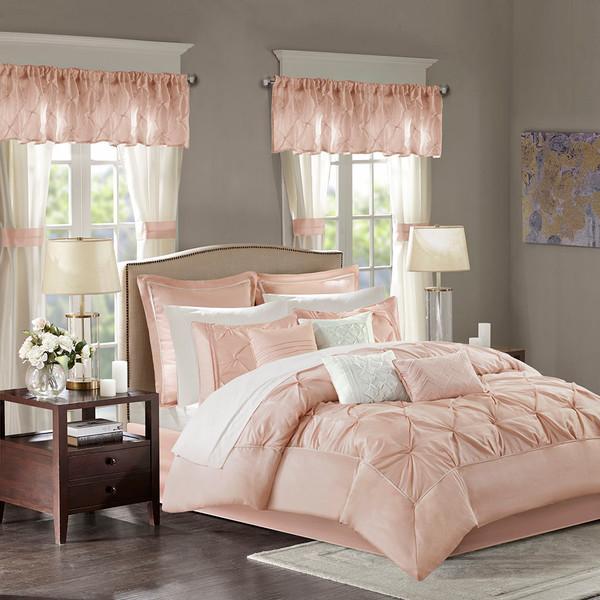 Madison Park Essentials Joella 100% Polyester Tufted 24Pcs Comforter Set - King - Blush MPE10-810 By Olliix