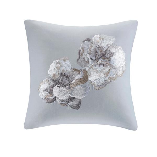 N Natori Casa Nouveau 100% Cotton Square Pillow- Grey NS30-3338 By Olliix