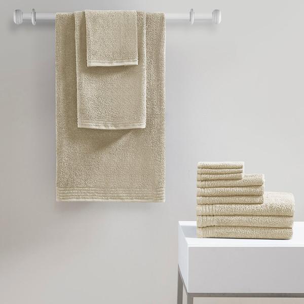 510 Design Big Bundle 100% Cotton 12Pcs Bath Towel Set- Taupe 5DS73-0217 By Olliix