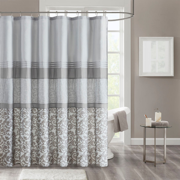 510 Design Ramsey 100% Polyester Printed And Embroidered Shower Curtain- Grey 5DS70-0217 By Olliix