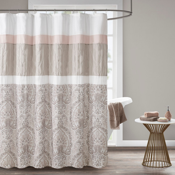 510 Design Shawnee 100% Polyester Microfiber Embroidery Printed Shower Curtain- Blush 5DS70-0221 By Olliix