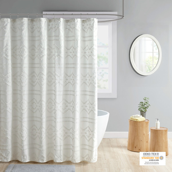 Intelligent Design Annie 100% Polyester Clipped Jacquard Solid Shower Curtain- Ivory ID70-1842 By Olliix