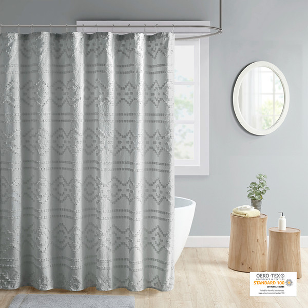 Intelligent Design Annie 100% Polyester Clipped Jacquard Solid Shower Curtain- Grey ID70-1843 By Olliix