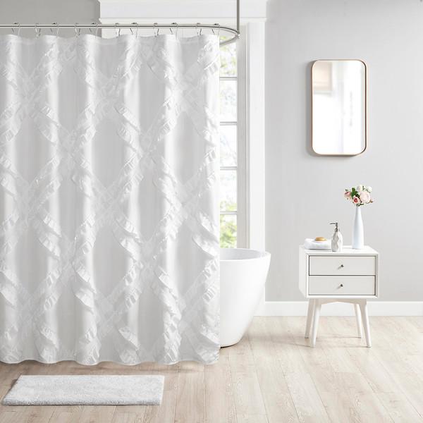 Intelligent Design Kacie 100% Polyester Tufted Diamond Ruffle Shower Curtain- White ID70-1785 By Olliix