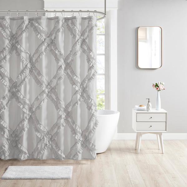 Intelligent Design Kacie 100% Polyester Tufted Diamond Ruffle Shower Curtain- Grey ID70-1786 By Olliix