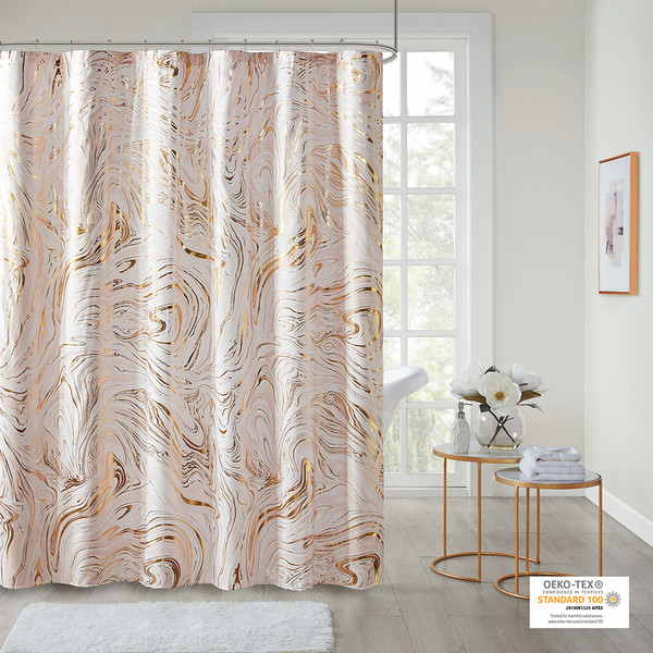 Intelligent Design Rebecca 100% Polyester Printed Marble Metallic Shower Curtain- Blush/Gold ID70-1806 By Olliix