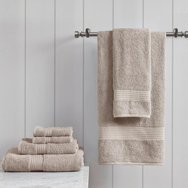 Madison Park Organic 100% Cotton 6 Piece Towel Set- Tan MP73-6629 By Olliix