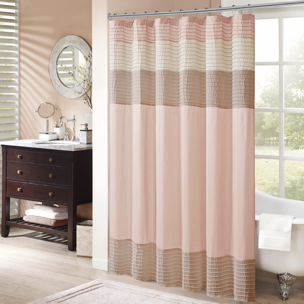 Madison Park Amherst 100% Polyestr Pieced Shower Curtain- Blush MP70-6743 By Olliix