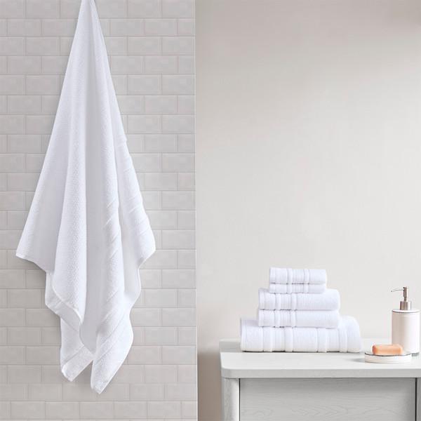 Madison Park Essentials Adrien 100% Cotton 6Pcs Towel Set- White MPE73-817 By Olliix