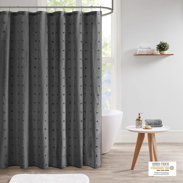 Urban Habitat Brooklyn 100% Cotton Jacquard Pom Pom Shower Curtain- Charcoal UH70-2311 By Olliix