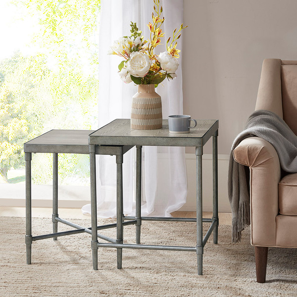Martha Stewart Bryn Lee Bryn Lee Accent Nesting Table- Antique Silver MT125-0104 By Olliix