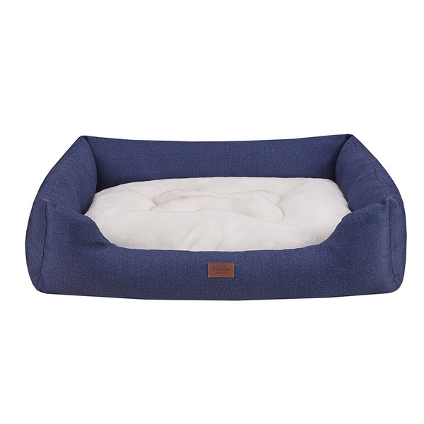 Martha Stewart Luna Denim Oval Bolster Cuddler- Navy/Ivory MS63BC5386 By Olliix