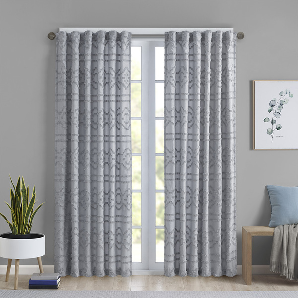 Intelligent Design Annie 100% Polyester Solid Clipped Jacquard Window Panel- Grey ID40-1845 By Olliix