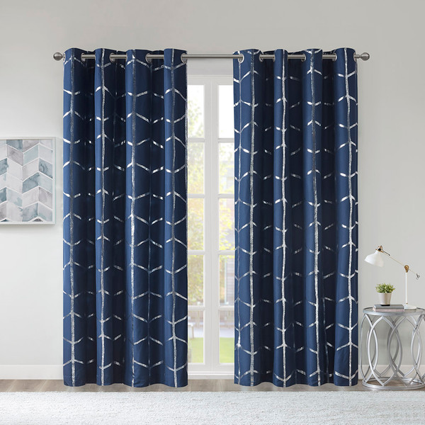 Intelligent Design Raina 100% Polyester Total Blackout Metallic Print Grommet Top Curtain Panel- Navy ID40-1810 By Olliix