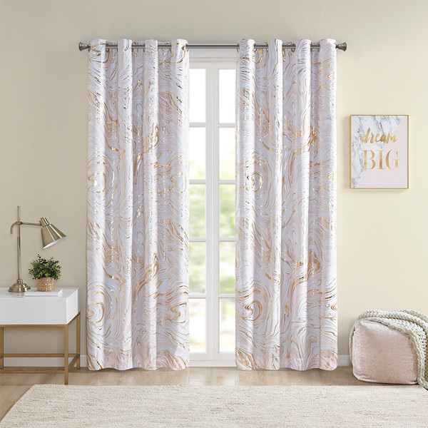 Intelligent Design Rebecca 100% Polyester Printed Marble Metallic Total Blackout Panel- Blush/Gold ID40-1909 By Olliix