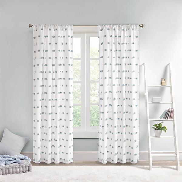 Intelligent Design Sophie 100% Polyester Pom Pom Embellished Window Panel- Dusty Blue ID40-1796 By Olliix