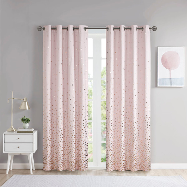 Intelligent Design Zoey 100% Polyester Total Blackout Printed Metallic Window Panel- Blush/Rosegold ID40-1787 By Olliix