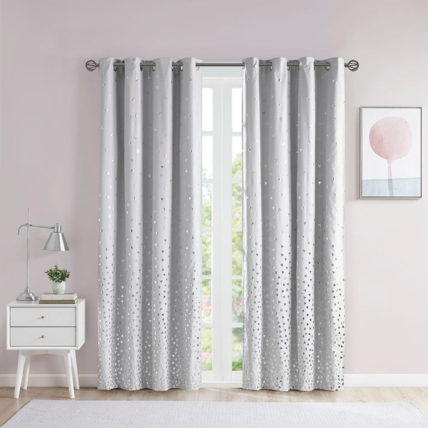 Intelligent Design Zoey 100% Polyester Total Blackout Printed Metallic Window Panel- Grey/Silver ID40-1788 By Olliix