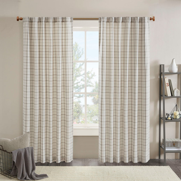 Madison Park Anaheim 100% Polyester Jacquard Rod Pocket And Back Tabs Plaid Panel With Fleece Lining- Natural MP40-6764 By Olliix