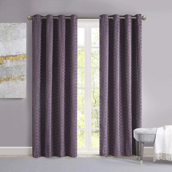 Madison Park Arcadia 100% Polyester Crinkle Matte Satin Panel- Purple MP40-6785 By Olliix