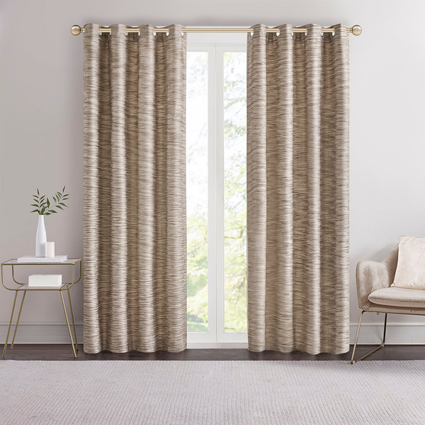 Madison Park Cameron 100% Polyester Yarn Dyed Texture Grommet Top Panel- Mocha MP40-6611 By Olliix