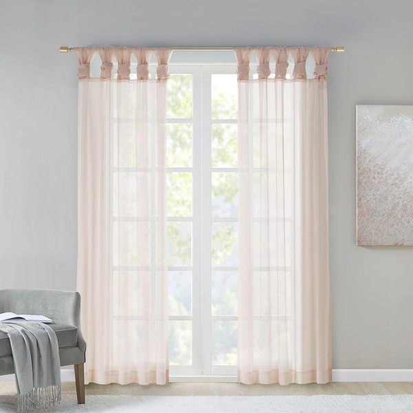 Madison Park Ceres 100% Polyester Twisted Voile Window Pair- Blush MP40-6346 By Olliix