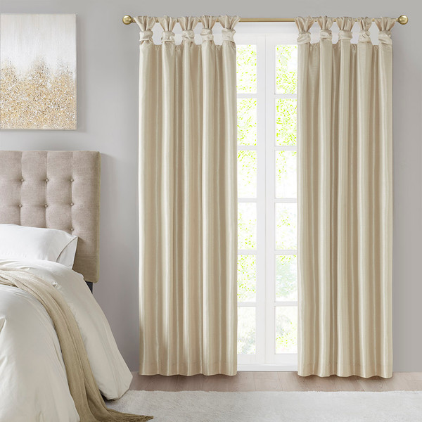 Madison Park Emilia 100% Polyester Solid Faux Silk Twisted Tab Blackout Panel- Champagne MP40-6368 By Olliix