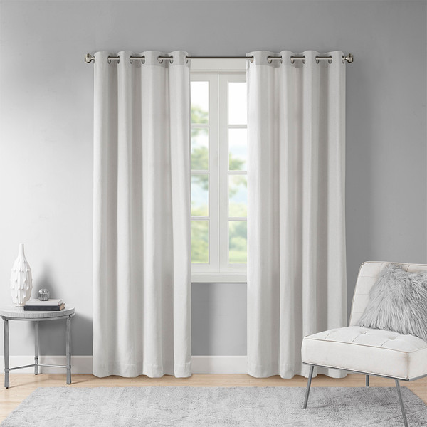 Madison Park Englewood 100% Polyester Solid Piece Dyed Grommet Top Window Panel- Grey MP40-6744 By Olliix