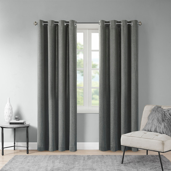 Madison Park Englewood 100% Polyester Solid Piece Dyed Grommet Top Window Panel- Charcoal MP40-6747 By Olliix