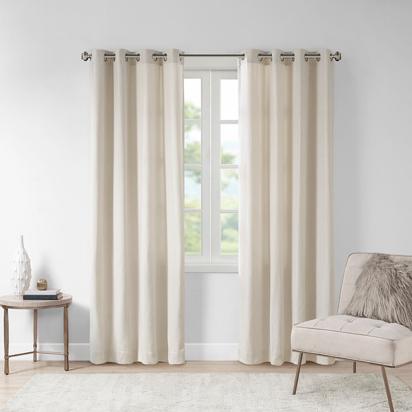 Madison Park Englewood 100% Polyester Solid Piece Dyed Grommet Top Window Panel- Natural MP40-6752 By Olliix