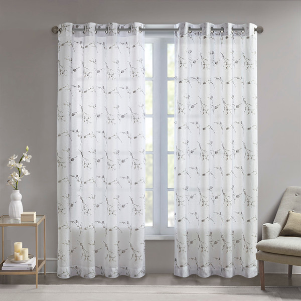 Madison Park Meredith 100% Polyester Floral Embroidered Sheer- Natural MP40-6742 By Olliix