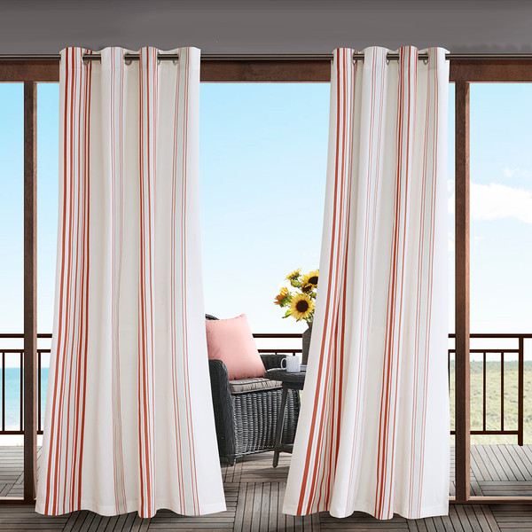 Madison Park Newport 100% Polyester Printed Stripe Outdoor Panel W/ 3M Scotchgard- Coral/White MP40-5731 By Olliix