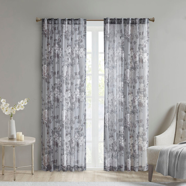Madison Park Simone 100% Polyester Printed Floral Rod Pocket And Back Tab Voile Sheer- Grey MP40-6616 By Olliix