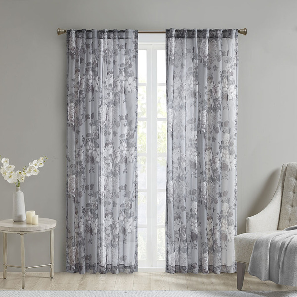 Madison Park Simone 100% Polyester Printed Floral Rod Pocket And Back Tab Voile Sheer- Grey MP40-6617 By Olliix