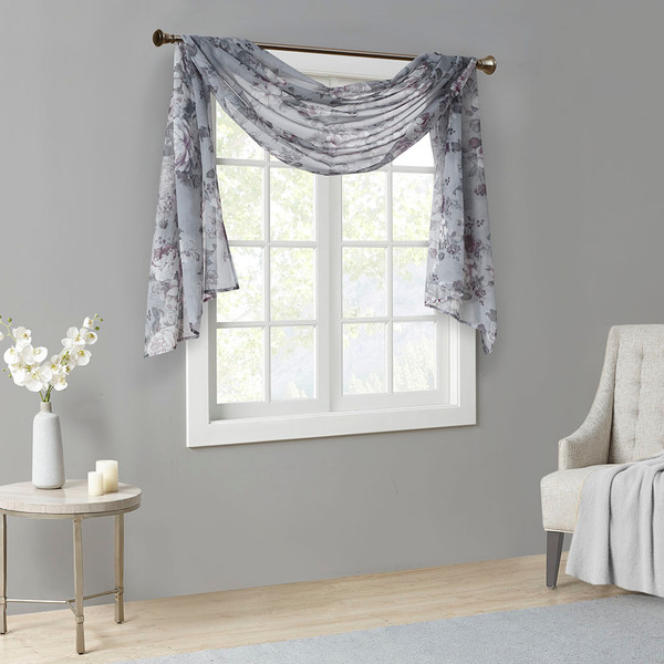 Madison Park Simone 100% Polyester Printed Floral Voile Sheer Scarf- Grey MP40-6619 By Olliix