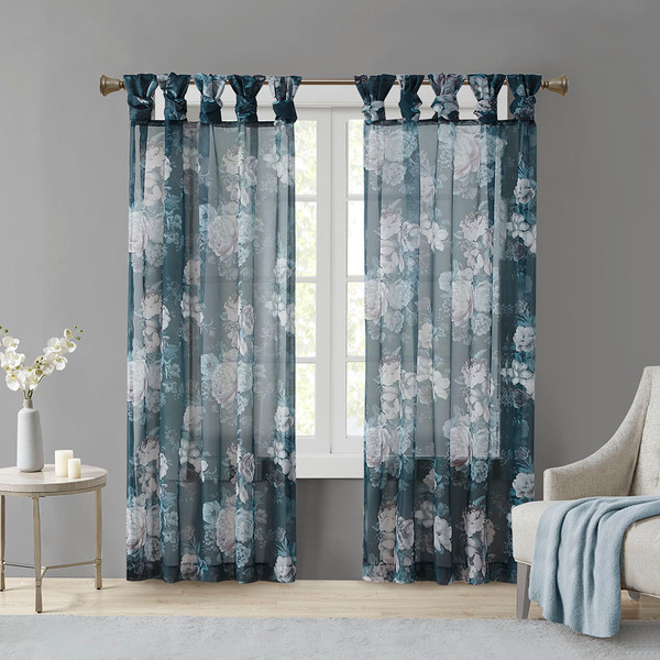 Madison Park Simone 100% Polyester Printed Floral Twist Tab Top Voile Sheer- Navy MP40-6621 By Olliix